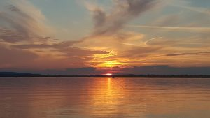 Closer look at the sunset at Chiemsee, Bavaria, German Alps
