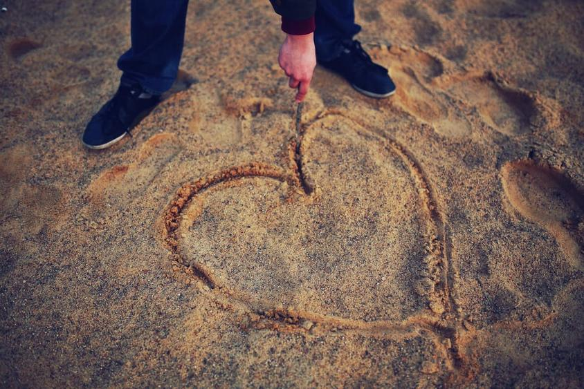 Heart Drawing In Sand