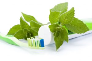 Homemade toothpaste with mint